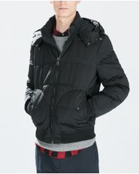 Zara Quilted Jacket with Hood - Lyst
