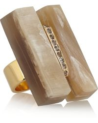 Marni Gold-plated Horn and Crystal Ring - Lyst