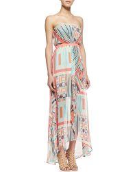 Cusp Strapless Printed Maxi Dress - Lyst