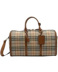 Burberry - Tan Leather Trimmed Nova Check Canvas 'Alchester' Travel Bag - Lyst