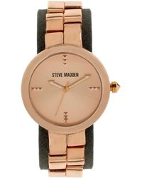 Steve Madden - Women'S Rose Gold-Tone And Grey Strap Watch 38Mm Smw00090-05 - Lyst