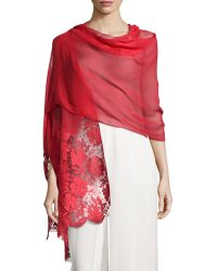 Valentino Floral Lace Trimmed Shawl - Lyst