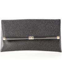 Diane von Furstenberg 440 Shimmer Textured-Leather Envelope Clutch - Lyst
