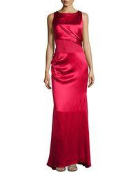 Carolina Herrera Sleeveless Pleated Bodice Silk Gown - Lyst