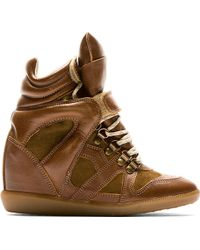 Isabel Marant Brown Leather Tibetan Sneakers - Lyst