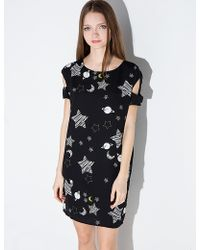 Pixie Market   black Star And Moon Cut Out Shoulder Dress   Lyst