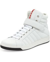 Prada Quilted Napa Grip-Strap High-Top Sneaker - Lyst