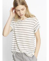 Vince - Double Stripe Linen Rolled Sleeve Tee - Lyst