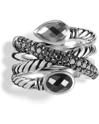 David Yurman Renaissance Crossover Ring with Hematine Black Onyx and Black Diamonds - Lyst