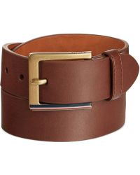 Tommy Hilfiger Striped Buckle Brown Belt - Lyst