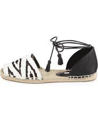 Cynthia Vincent - Farie Zebra-print Ankle-wrap Sandal - Lyst