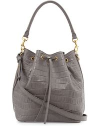 Saint Laurent Medium Croc-Print Bucket Shoulder Bag - Lyst