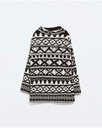 Zara Jacquard Rollneck Sweater - Lyst