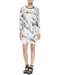 Helmut Lang Terrene Long-Sleeve Marble-Print Dress - Lyst