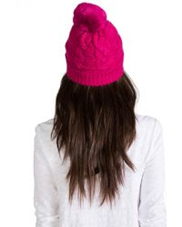 Juicy Couture - Sparkle Cable Beanie with Faux Fur in Fuchsia - Lyst