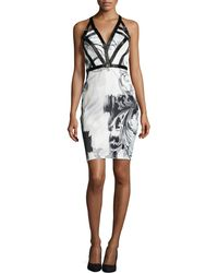 Versace Sleeveless Plunge-Print Dress - Lyst