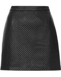 Topshop Petite Pu Stitch A-Line Skirt  - Lyst