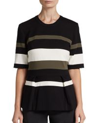 3.1 Phillip Lim Striped Peplum Top - Lyst