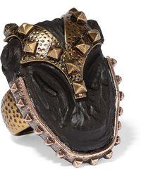 Valentino - Burnished Gold-plated Ebony Ring - Lyst
