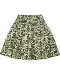 Peter Som Floral Brocade Skirt with Pleats - Lyst