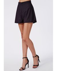 Missguided Pinstripe Tailored Shorts Navy - Lyst