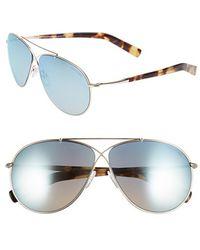 Tom Ford Women'S 'Eva' 61Mm Aviator Sunglasses - Rose Gold/ Blue Sky Mirror - Lyst