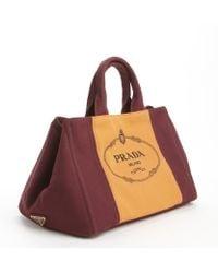 Prada Burgundy Orange Canvas Logo Crossbody Top Handle Bag - Lyst