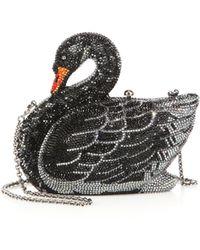 Judith Leiber Swarovski Crystal Swan Clutch black - Lyst