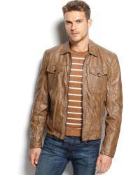 Michael Kors Michael La Plata Faux Leather Moto Jacket - Lyst