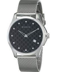 Gucci G-timeless Large Black Dial W Dial Markers Steel Bracelet - Lyst