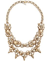 Deepa Gurnani | Crystal Layered Necklace - Clear/Gold | Lyst