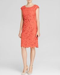 Vera Wang Dress - Cap Sleeve Lace Sheath pink - Lyst
