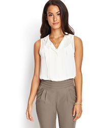 Forever 21 Ruffle-Pleated Woven Top - Lyst