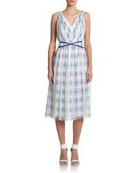 Shoshanna Monet Plaid Silk Dress - Lyst