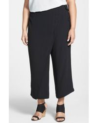 Eileen Fisher Wrap Front Wide Leg Silk Crop Pants - Lyst