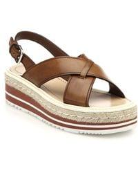 Prada Espadrille & Rubber-Sole Leather Sandals - Lyst