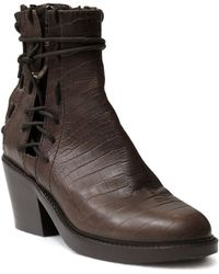Haider Ackermann Crocodile-Print Leather Laceup Ankle Boots - Lyst