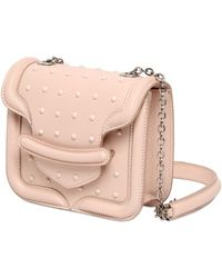 Alexander McQueen Mini Heroine Studs Sponge Leather Bag - Lyst