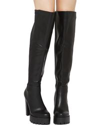 Akira Black Label - Chunky Platform Over The Knee Stretch Boots - Lyst