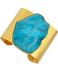 Dina Mackney - 22k Plated Gold & Large Turquoise Cuff - Lyst