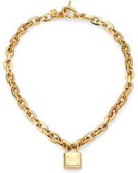Michael Kors Padlock Charm Necklace/Goldtone - Lyst