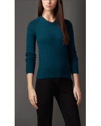 Burberry Crew Neck Cashmere Sweater - Lyst