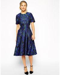 Asos Embellished Crop Top Midi Dress - Lyst