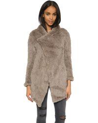 June - Oversized Fur Coat - Lyst