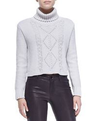 J Brand Maddie Turtleneck Sweater With Cable Knit Front - Lyst