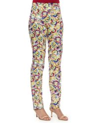 Carolina Herrera Flat-Front Parasol-Print Slim-Fit Pants - Lyst