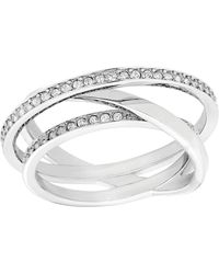 Swarovski Spiral Silvertone  Crystal Ring - Lyst