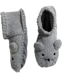 H&M Gray Knitted Slippers - Lyst