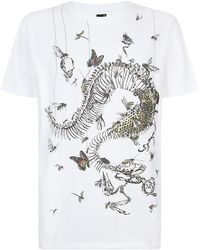 McQ by Alexander McQueen Skeleton and Butterflies Tshirt - Lyst