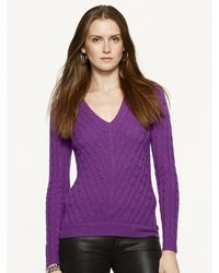 Ralph Lauren Black Label Mitered V-neck Cable Cashmere - Lyst